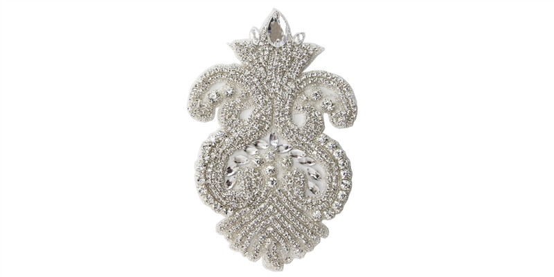 RHS-APL-823-SILVER.  Hot Fix Sew-On Clear Crystal Rhinestone Applique - Silver Beads