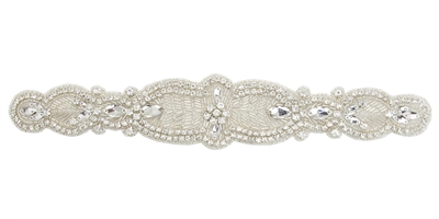 RHS-APL-825-SILVER.  CRYSTAL RHINESTONE APPLIQUE - 12 x 2 INCHES