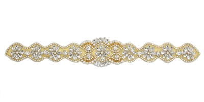 RHS-APL-838-GOLD.  Sew-On Glue-On Clear Crystal Rhinestone Applique - Gold Beads - 13 X 2 Inches