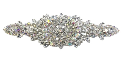RHS-APL-853-AB.  Hot Fix / Sew-On Clear Crystal Rhinestone Applique - Silver Beads - 7 X 2 Inches