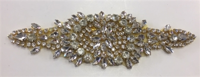 RHS-APL-853-GOLD.  Hot Fix / Sew-On Clear Crystal Rhinestone Applique - Gold Beads - 7 X 2 Inches