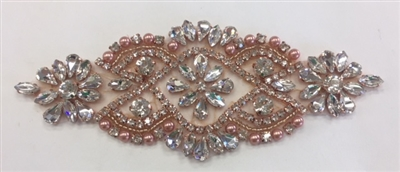 RHS-APL-862-ROSEGOLD. Hot Fix / Sew-On Clear Crystal Rhinestone Applique - 5 X 2 Inches