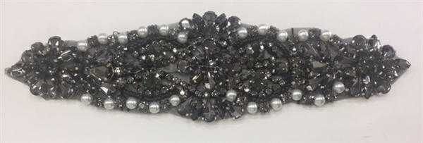 RHS-APL-864-BLACK. Hot Fix / Sew-On Black Crystal Rhinestone Applique with Silver Pearls - 7 X 2 Inches