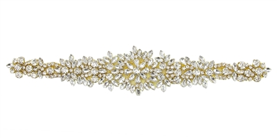 RHS-APL-865-GOLD.  Hot Fix / Sew-On Clear Crystal Rhinestone Applique - 11.5 X 2 Inches