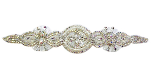 "RHS-APL-866-AB-SILVER.  AB CRYSTAL RHINESTONE APPLIQUE ON SILVER- 13"" X 2.5"""