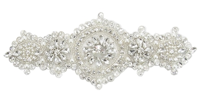 RHS-APL-872-SILVER.  Hot Fix / Sew-On Clear Crystal Rhinestone Applique - Silver Beads - 7.5 x 3 Inches