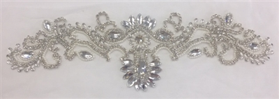 RHS-APL-879-SILVER. Sew-On  Clear Crystal Rhinestone Applique - On Net - Silver Beads - 15 X 5 Inches