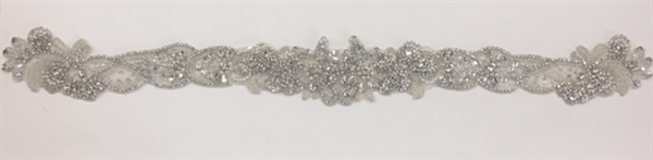 RHS-APL-912-SILVER.   Sew-On Clear Crystal Rhinestone Applique On Net - With Pearls, Silver Beads and Clear Crystals - 23 x 2.5 Inches
