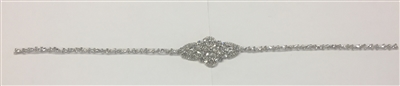 RHS-APL-915-SILVER.   Hot-Fix and Sew-On Clear Crystal Rhinestone Applique - With Pearls, Silver Beads and Clear Crystals - 27 x 2.5 Inches