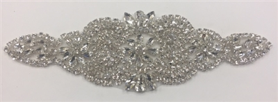 RHS-APL-916-SILVER.   Hot-Fix and Sew-On Clear Crystal Rhinestone Applique - With Silver Beads and Clear Crystals - 8 x 2.5 Inches
