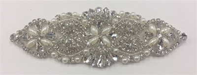 RHS-APL-917-SILVER.   Hot-Fix and Sew-On Clear Crystal Rhinestone Applique - With Pearls, Silver Beads and Clear Crystals - 5.5 x 2 Inches