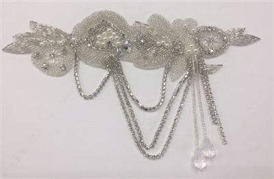 RHS-APL-919-SILVER.   Hot-Fix and Sew-On Clear Crystal Rhinestone Applique - With Pearls, Silver Beads and Clear Crystals - 10 x 5.5 Inches