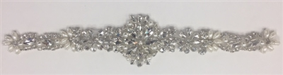 RHS-APL-920-SILVER.   Hot-Fix and Sew-On Clear Crystal Rhinestone Applique - With Pearls, Silver Beads and Clear Crystals - 11 x 2.25 Inches