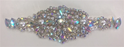 RHS-APL-921-AB.   Hot-Fix and Sew-On AB Crystal Rhinestone Applique - With Pearls, Silver Beads and AB Crystals - 6 x 2 Inches