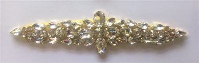 RHS-APL-922-GOLD. Hot-Fix and Sew-On Clear Crystal Rhinestone Applique - With Gold Beads and Clear Crystals - 7.5 x 2 Inches. Can be Used for Making Belts, Sashes, Head-Bands, Party Dresses and Costumes.
