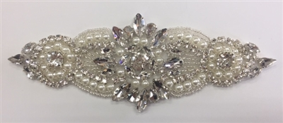 RHS-APL-926-SILVER. Hot-Fix and Sew-On Clear Crystal Rhinestone Applique - With Pearls, Silver Beads and Clear Crystals - 6 x 2.5 Inches. Can be Used for Making Belts, Sashes, Head-Bands, Party Dresses and Costumes.