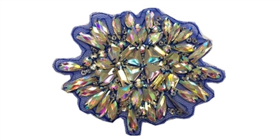 "RHS-APL-739-AB-BLUE.  AB CRYSTAL RHINESTONE APPLIQUE ON BLUE TOOL- 5.5"" X 4.5"""
