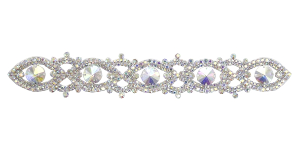 RHS-APL-100-AB.  Glue-On / Sew-On AB Crystal Rhinestone Applique - Silver Metal Backing - 1.5 inch X 10 Inch