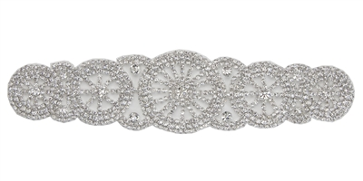 RHS-APL-M101-SILVER.  Glue-On / Sew-On Clear Crystal Rhinestone Applique - Silver Metal Backing - 2.25 inch X 9 Inch