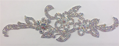 RHS-APL-M103-AB. AB Crystal Rhinestones on Silver Metal Applique. 9 x 3 Inches