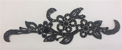 RHS-APL-M103-BLACK. Black Crystal Rhinestones on Black Metal Applique. 9 x 3 Inches
