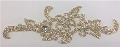 RHS-APL-M103-GOLD. Crystal Rhinestones on Gold Metal Applique. 9 x 3 Inches