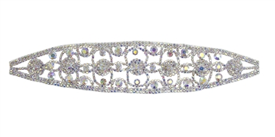 RHS-APL-104-AB.  Glue-On / Sew-On AB Crystal Rhinestone Applique - Silver Metal Backing - 2.25 inch X 9 Inch