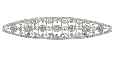 RHS-APL-104-SILVER.  Glue-On / Sew-On Clear Crystal Rhinestone Applique - Silver Metal Backing - 2.25 inch X 9 Inch