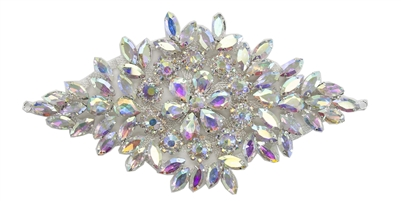 RHS-APL-105-AB.  Glue-On / Sew-On AB Crystal Rhinestone Applique - Silver Metal Backing - 3.5 inch X 7 Inch