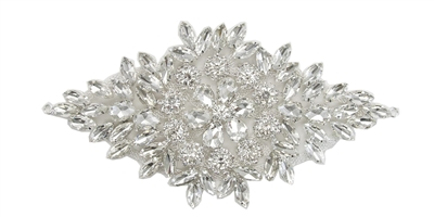 RHS-APL-105-SILVER.  Glue-On / Sew-On Clear Crystal Rhinestone Applique - Silver Metal Backing - 3.5 inch X 7 Inch