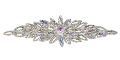 RHS-APL-106-AB.  Glue-On / Sew-On AB Crystal Rhinestone Applique - Silver Metal Backing - 2.75 inch X 8.5 Inch