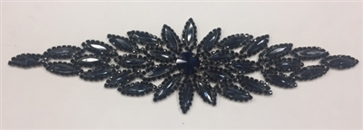 RHS-APL-M106-BLACK.  Glue-On / Sew-On Black Crystal Rhinestone Applique - Black Metal Backing - 2.75 inch X 8.5 Inch