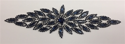 RHS-APL-M106-NAVY.  Glue-On / Sew-On Navy Crystal Rhinestone Applique - Silver Metal Backing - 2.5 inch X 8 Inch