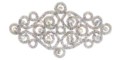 RHS-APL-M108-AB.  Glue-On / Sew-On AB Crystal Rhinestone Applique - Silver Metal Backing - 4 inch X 8 Inch