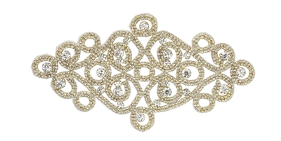 RHS-APL-M108-GOLD.  Glue-On / Sew-On Clear Crystal Rhinestone Applique - Gold Metal Backing - 4 inch X 8 Inch