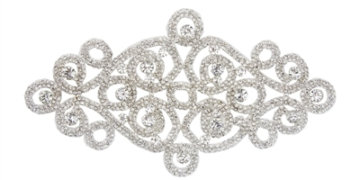 RHS-APL-M108-SILVER.  Glue-On / Sew-On Clear Crystal Rhinestone Applique - Silver Metal Backing - 4 inch X 8 Inch