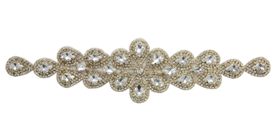 RHS-APL-M109-GOLD.  Glue-On / Sew-On Clear Crystal Rhinestone Applique - Gold Metal Backing - 2 inch X 9 Inch