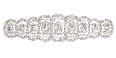 RHS-APL-111-SILVER.  Glue-On / Sew-On Clear Crystal Rhinestone Applique - Silver Metal Backing - 2 inch X 8.5 Inch