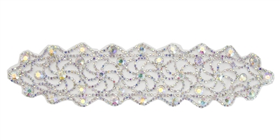 RHS-APL-M113-AB.  RHINESTONE APPLIQUE ON METAL.  9 x 2 Inches