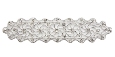 RHS-APL-M113-SILVER.  RHINESTONE APPLIQUE ON METAL.  9 x 2 Inches