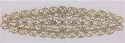 RHS-APL-M114-GOLD.  RHINESTONE APPLIQUE ON METAL.  10 x 2.5 Inches