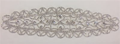 RHS-APL-M114-SILVER. RHINESTONE APPLIQUE ON METAL. 10 x 2.5 Inches