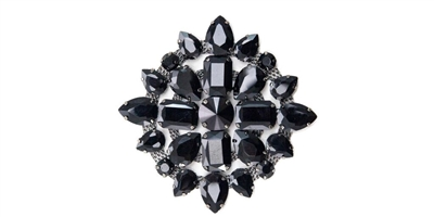 RHS-APL-M115-BLACK.  Rhinestone Applique On Metal - 3 INCH