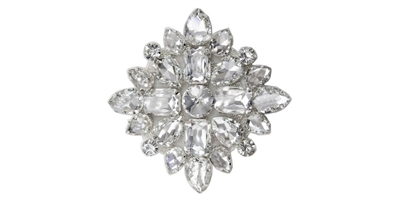 RHS-APL-M115-SILVER.  Rhinestone Applique On Metal - 3 INCH