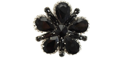 RHS-APL-M116-BLACK.  Rhinestone Applique On Metal
