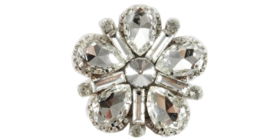 RHS-APL-M116-SILVER.  Rhinestone Applique On Metal
