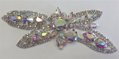 RHS-APL-M118-AB.  AB RHINESTONE APPLIQUE ON SILVER METAL.  6 x 3 Inches