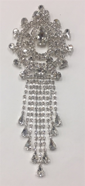 RHS-APL-M120-SILVER.  Crystal Rhinestones on Silver Metal Applique.  7 x 2.5 Inches