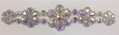 RHS-APL-M121-ABSILVER. AB Rhinestones on Silver Metal Applique. 12 x 3 Inches