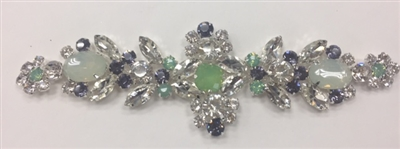 RHS-APL-M126-GREENSILVER.   Glue-On Sew-On Clear and Green Crystal Rhinestone Applique - With Green, Black, and Clear Crystals - 6.25 x 2 Inches